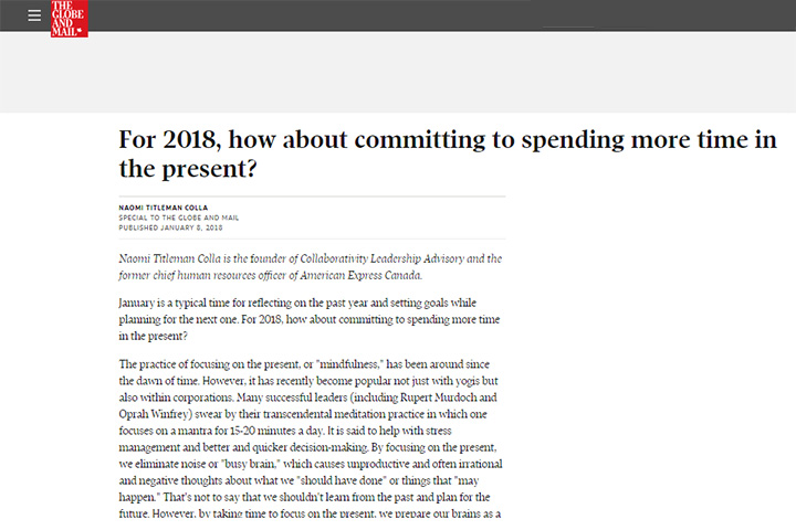 For 2018, how about committing to spending more time in the present?