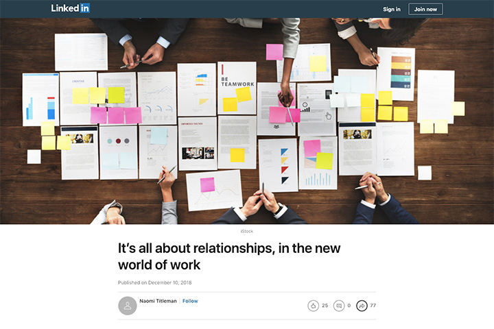 It's all about relationships, in the new world of work