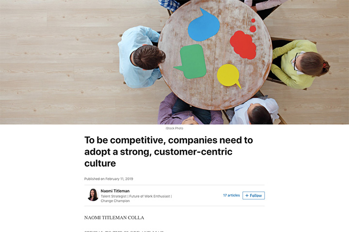 To be competitive, companies need to adopt a strong, customer-centric culture