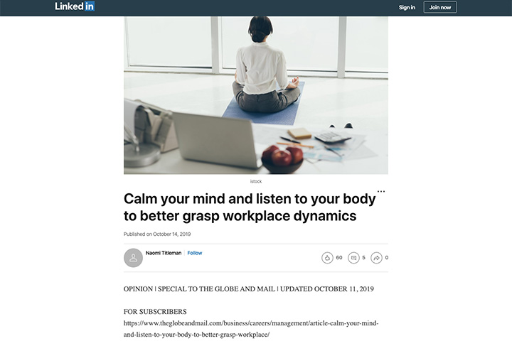 Calm your mind and listen to your body to better grasp workplace dynamics
