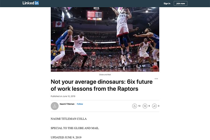 Not your average dinosaurs: 6ix future of work lessons from the Raptors