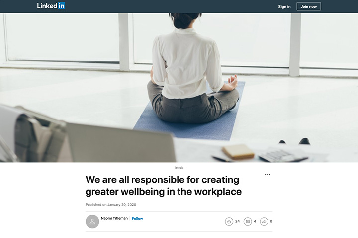 We are all responsible for creating greater wellbeing in the workplace