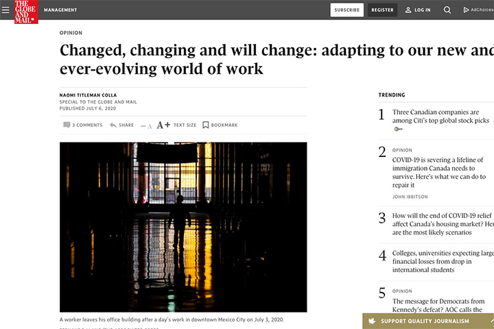 Changed, changing and will change: adapting to our new and ever-evolving world of work