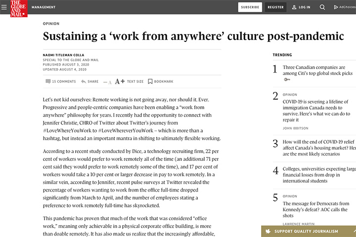 Sustaining a 'work from anywhere' culture post-pandemic