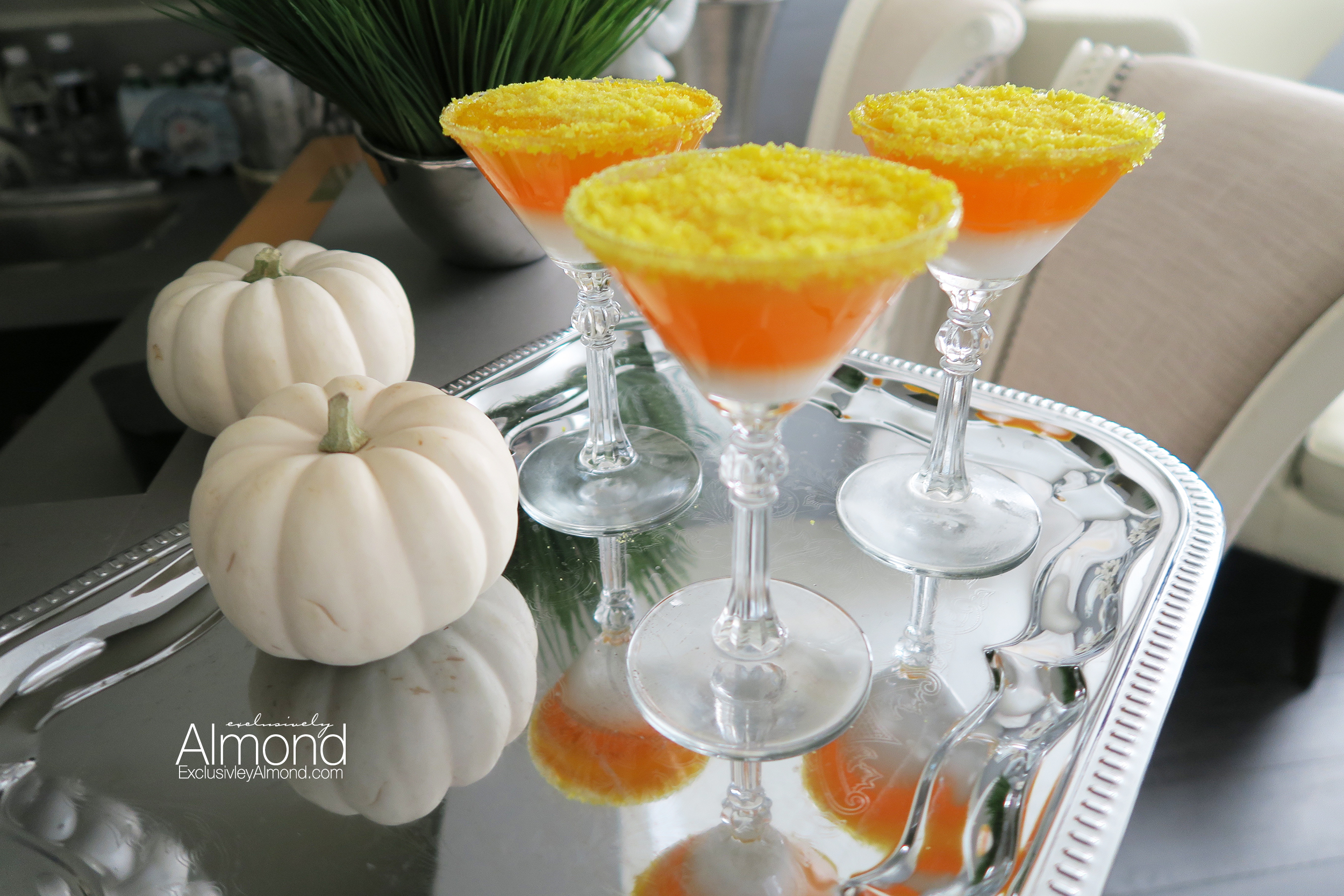 Candy corn jello shot martini's