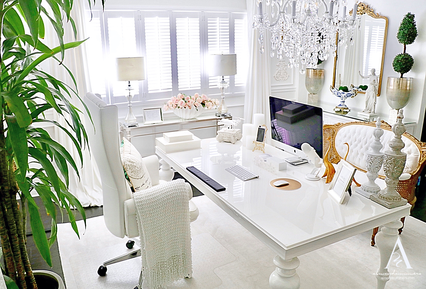 French Office Decor Ideas |Almond Summers Designs | Home Office | Office decor inspiration