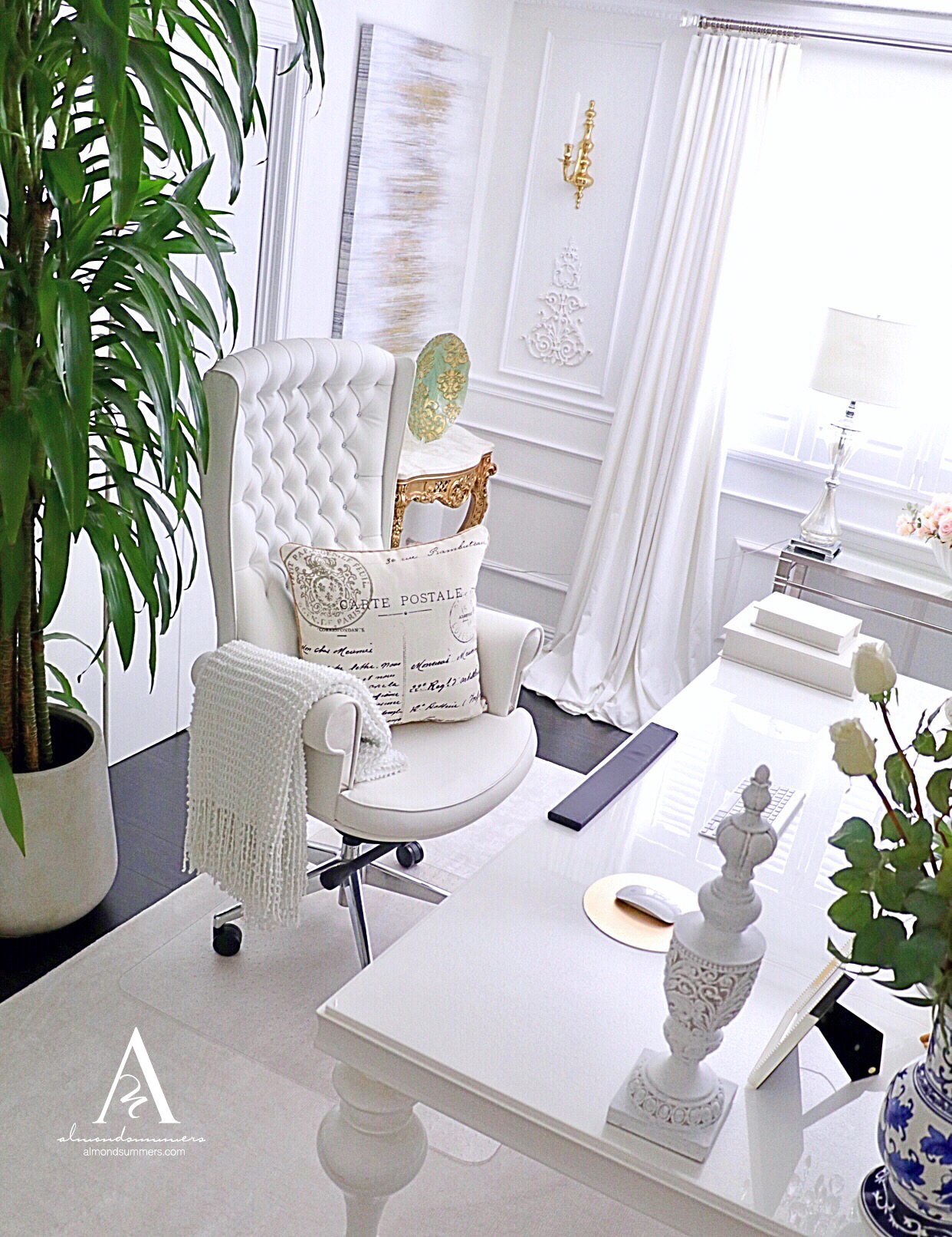 French Office Decor Ideas |Almond Summers Designs | Home Office | Office decor inspiration | French office Decorating Ideas | White Office Chairs