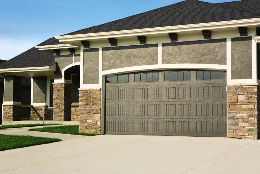 house with wood garage door