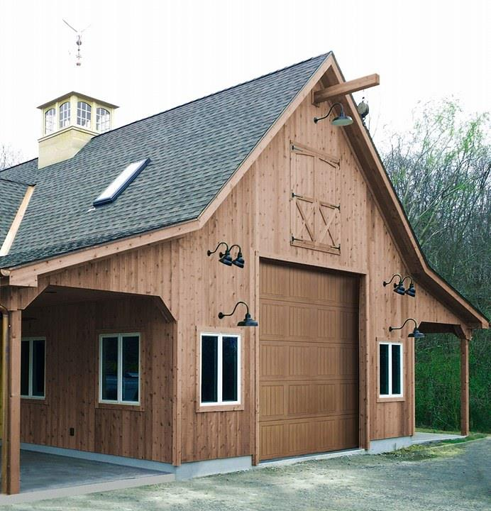 Barn with wood garage door