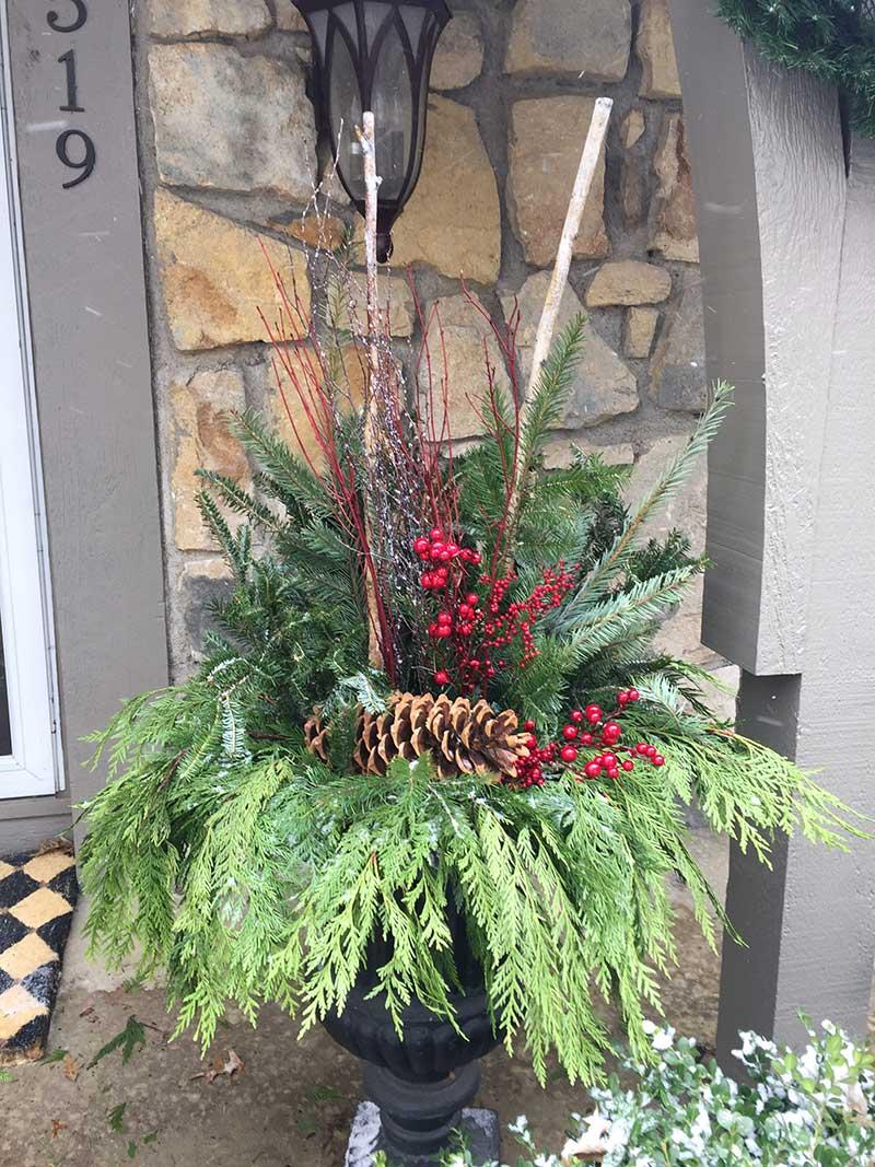 Winter Season Front Door Pots