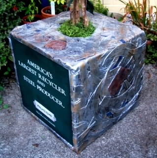 Close-up of Recycled Metal Cube for NUCOR Trade Shows