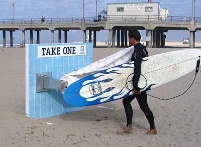 Super-sized toilet paper roll holder on Huntington Beach, CA