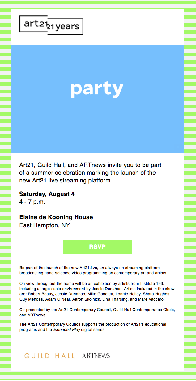 Art 21 Summer Party, 2018