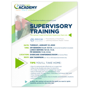 EverCare Academy training flyer