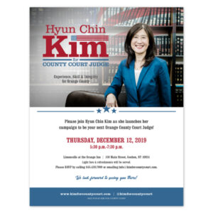 Kim for County Court kick off event flyer