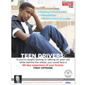 OCDA Teen texting & driving PSA poster