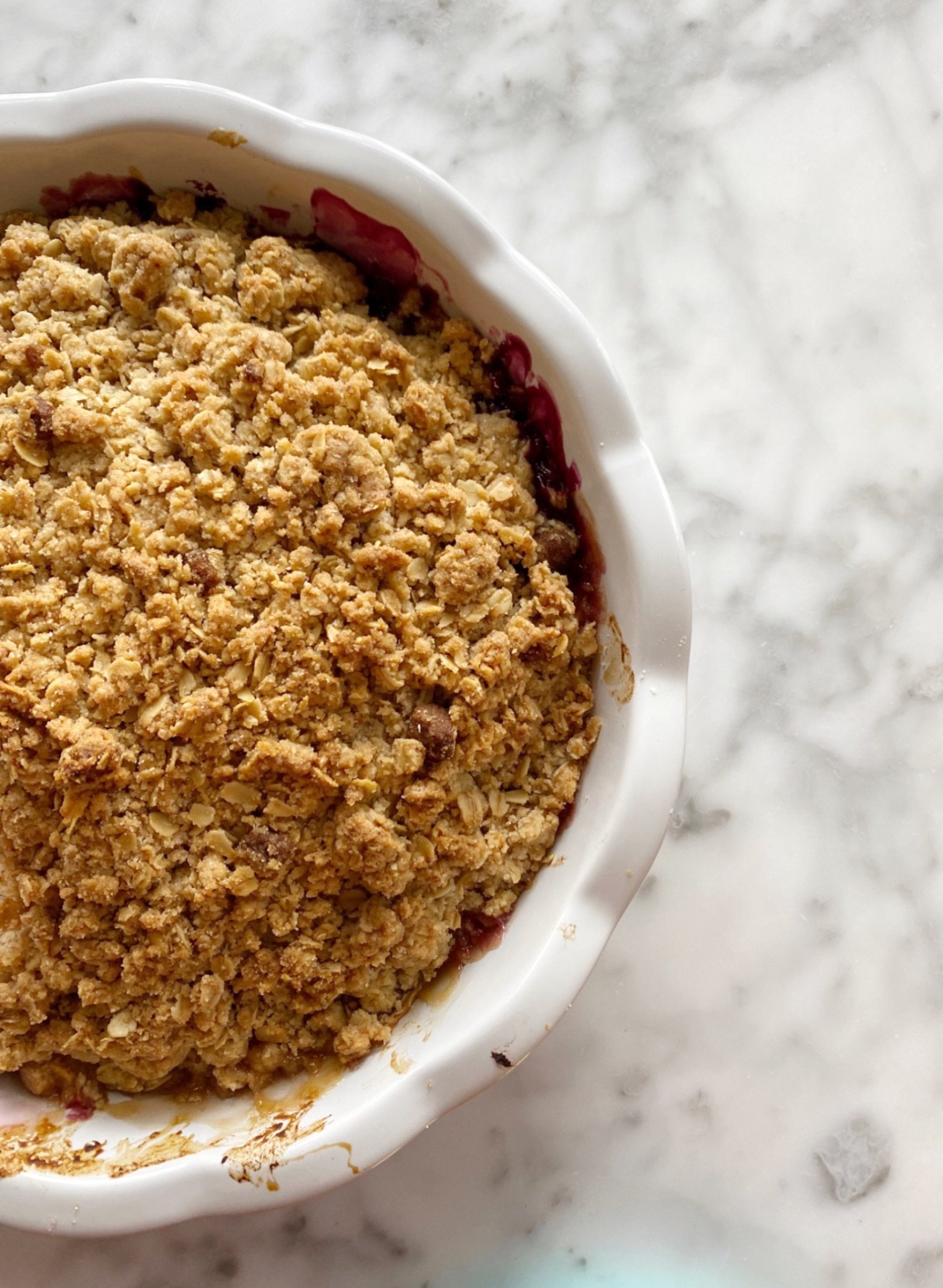PEACH, PLUM + BLUEBERRY CRUMBLE