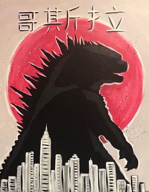Painting Lesson- Godzilla