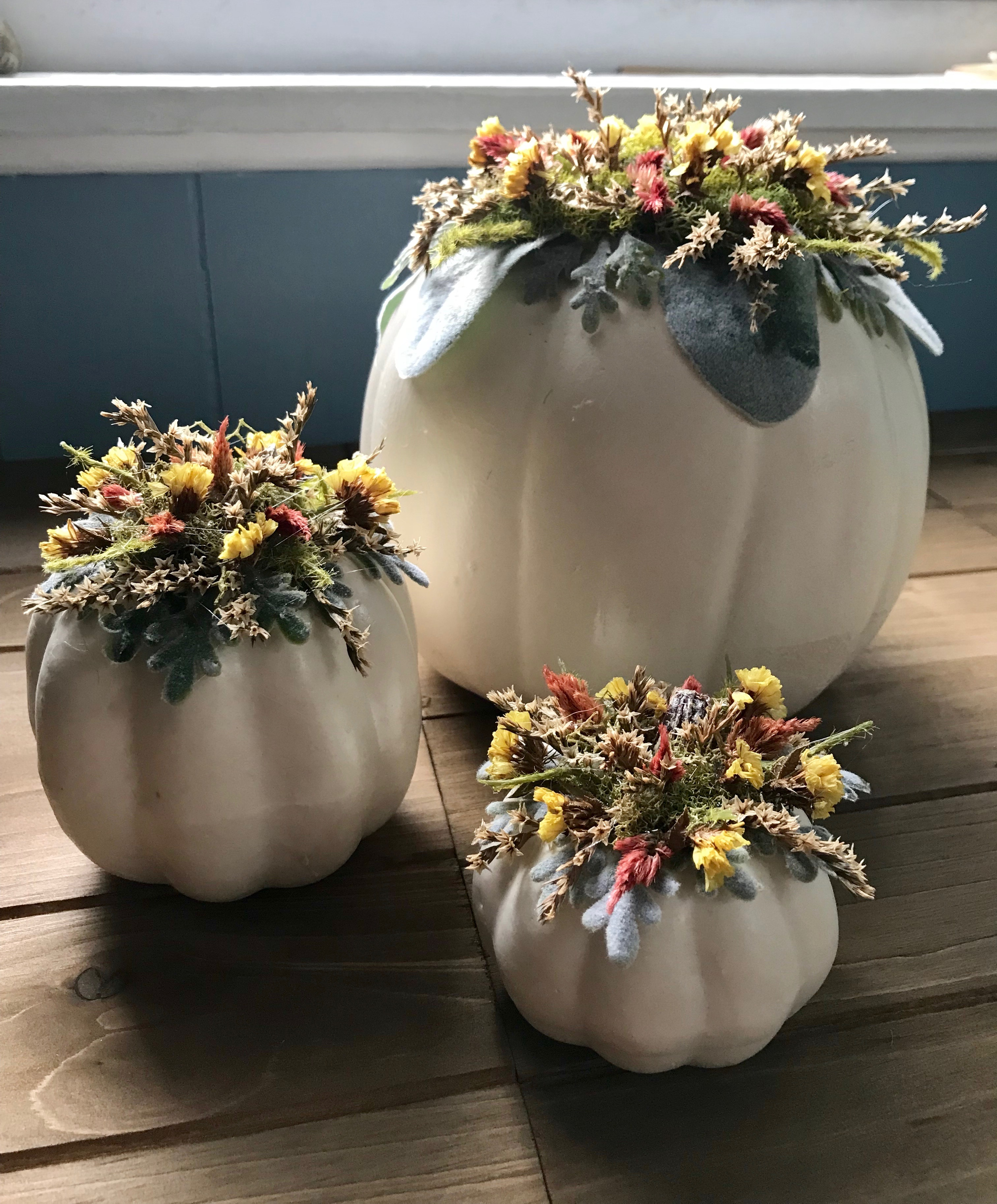 Set Of Pumpkins With Dried Flowers
