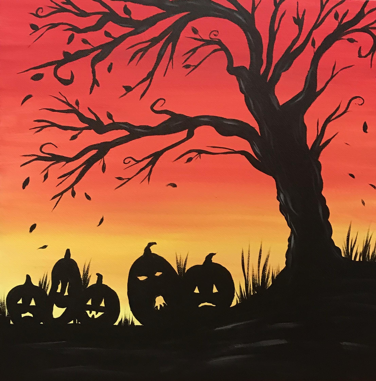 Painting Lesson-Pumpkin Silhouette