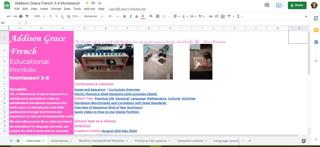 Montessori Home School Record Keeping