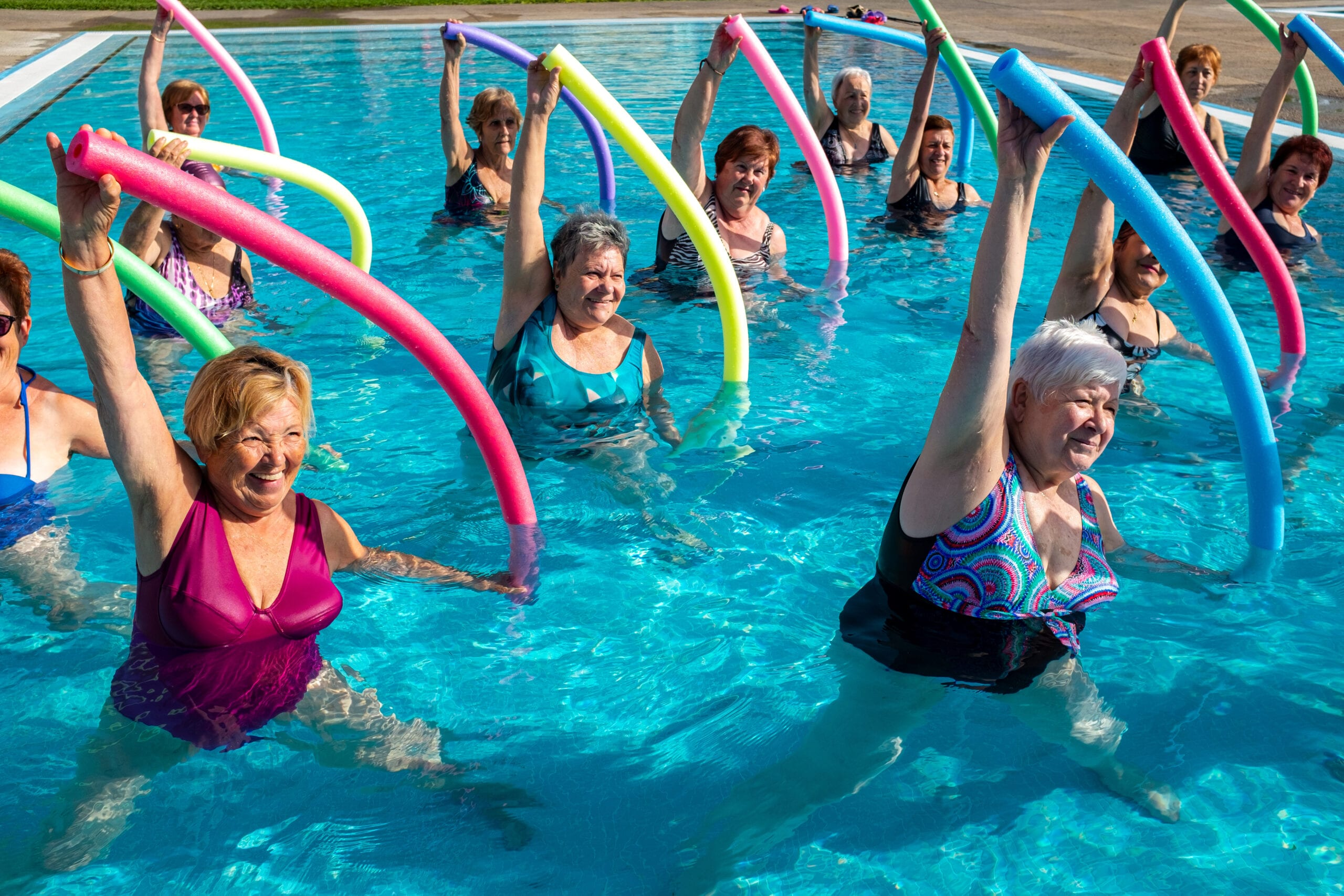 Active Seniors Exercising in the pool