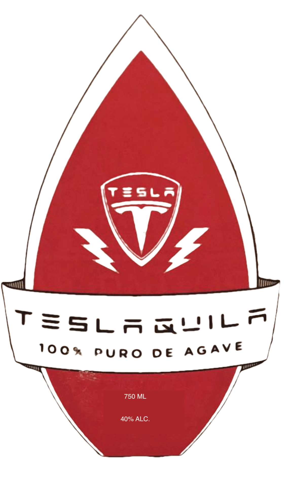 TeslaQuila Bottle Label