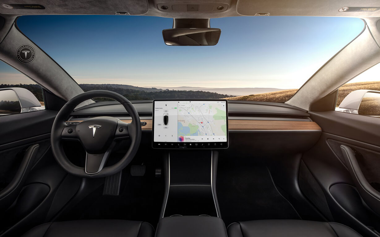 Tesla Model 3 With Steering Wheel