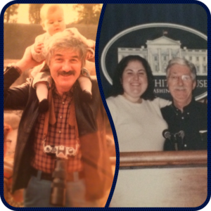 Man with camera around his neck with baby on his shoulder/ Same man, older now next to young adult woman. Both stand in front of podium in front White House logo and crest.