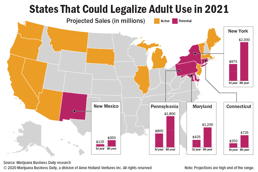 Cultivate Las Vegas Dispensary $6 billion question: Which states are likely to legalize recreational marijuana in 2021?