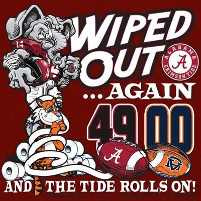 Wiped out Again and the Tide Rolls On Iron Bowl Score shirt