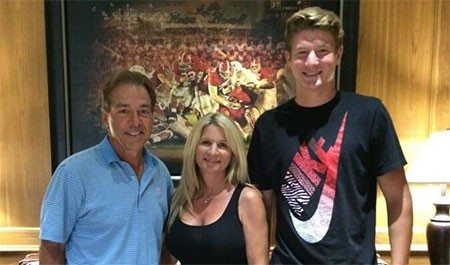 New Tide commitment Blake Barnett shown with his mom and the greatest coach of our time.