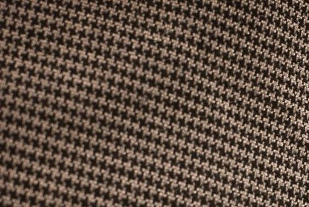 """A close view of a houndsooth pattern on a fedora-style hat similar to the """"Bear"""" Bryant style worn by fans of the Alabama Crimson Tide."""
