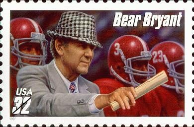 Bear Bryant wearing houndsooth hat depicted on US Postage Stamp. This pattern became known as Alabama houndstooth as fans adopted the iconic pattern.