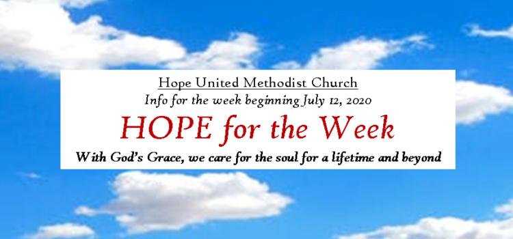 HOPE for the Week -Weekly ENews – Week of July 12