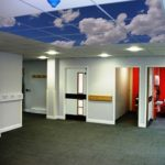hallway hospital acoustic sky ceiling tiles