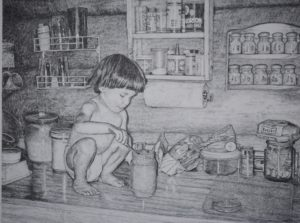 """A Dip in the Jar"" 24x32 pencil drawing by John Huisman"