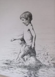 """Boys running on the beach"", pencil"