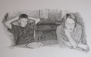 """Table Conversation"" 13x20 pencil drawing"