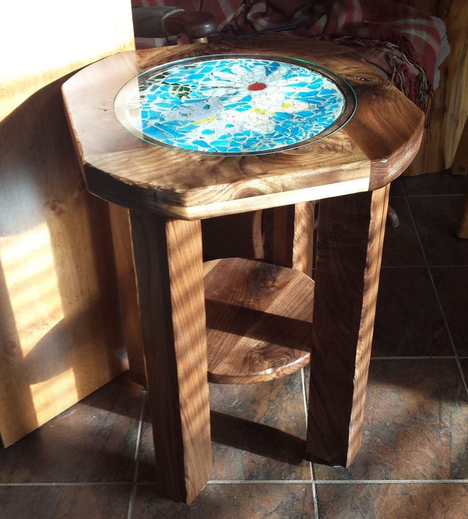 Walnut end table, sunlight