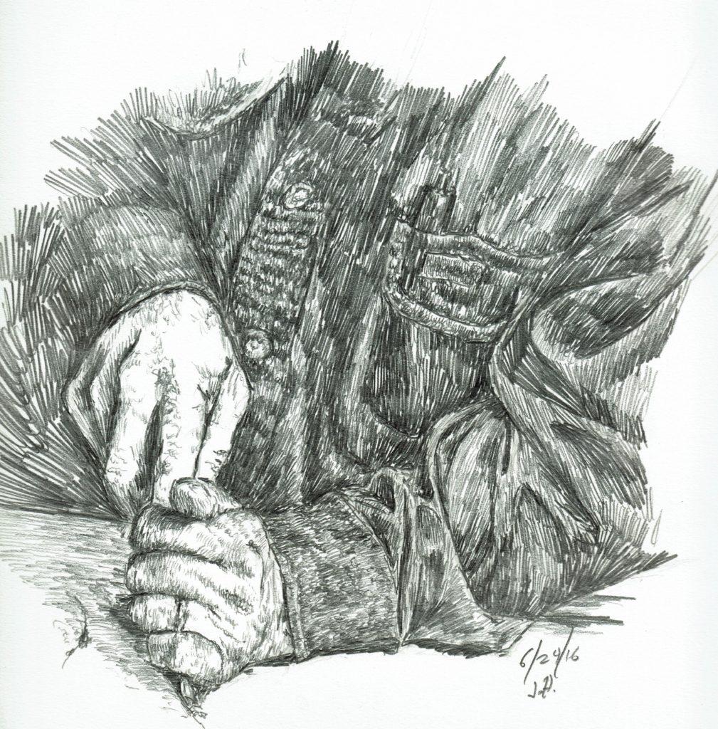 Carving wood sketch