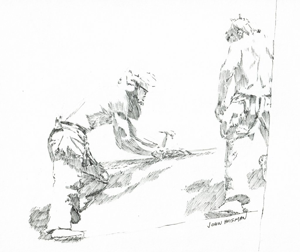 Len and Mike on the roof, pen and ink quick sketch by John Huisman