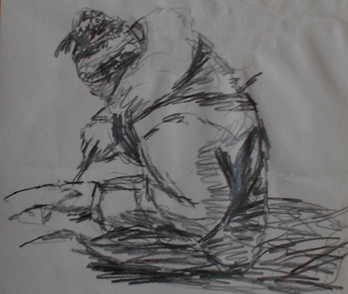 A Man in a coat carving something, pencil sketch