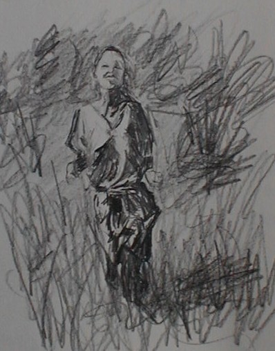 Pencil drawing of a woman running in meadow