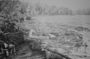 Burntside Shoreline 32x21, pencil drawing by John Huisman