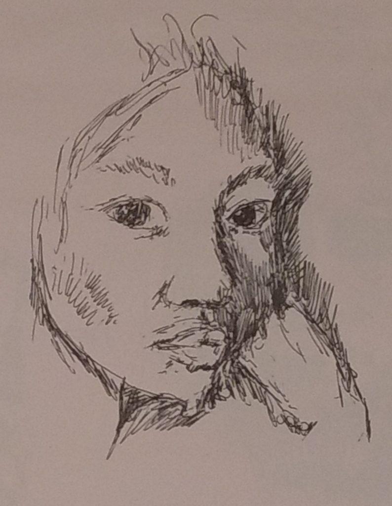 Gel pen sketch from the sketch books of John Huisman