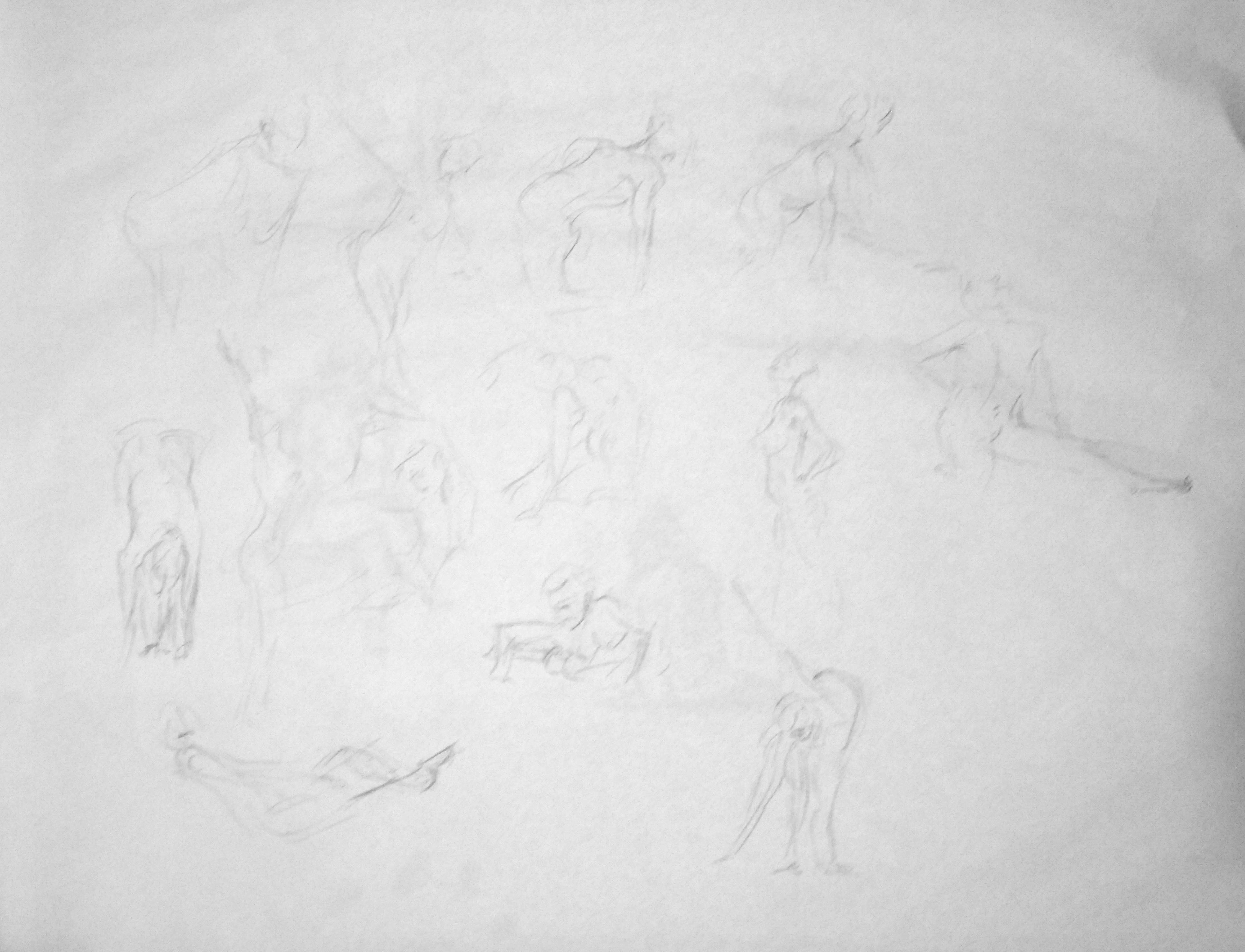 John Huisman pencil sketches, AWE figure drawing 11-10-18