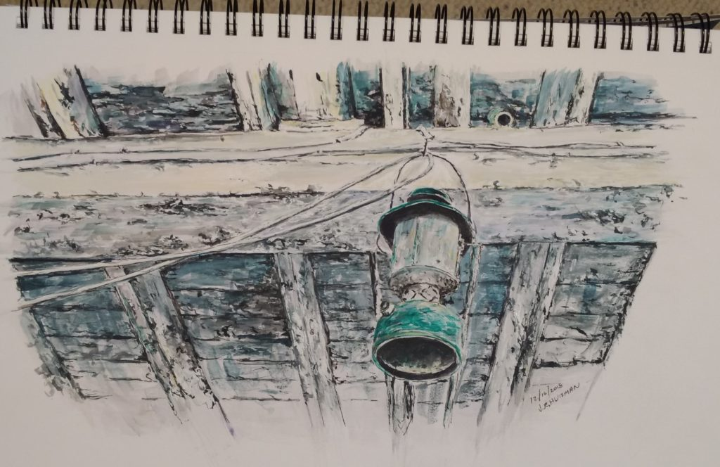 Dewey's barn, the lantern, watercolo and ink sketch by Minnesota Artist John Huisman