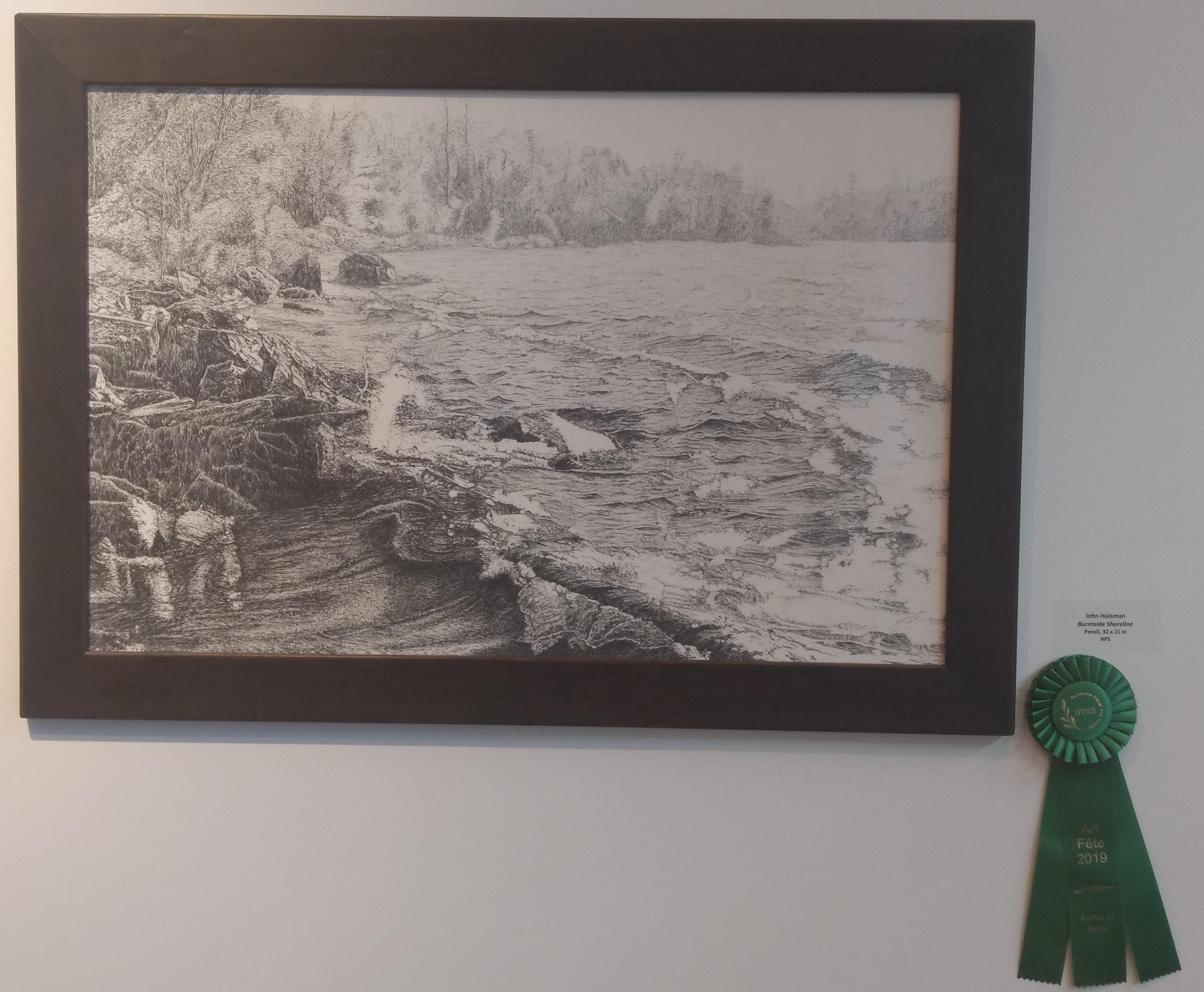 Burntside Shoreline, Pencil drawing, award of merit. 2019 BVAS Art fete