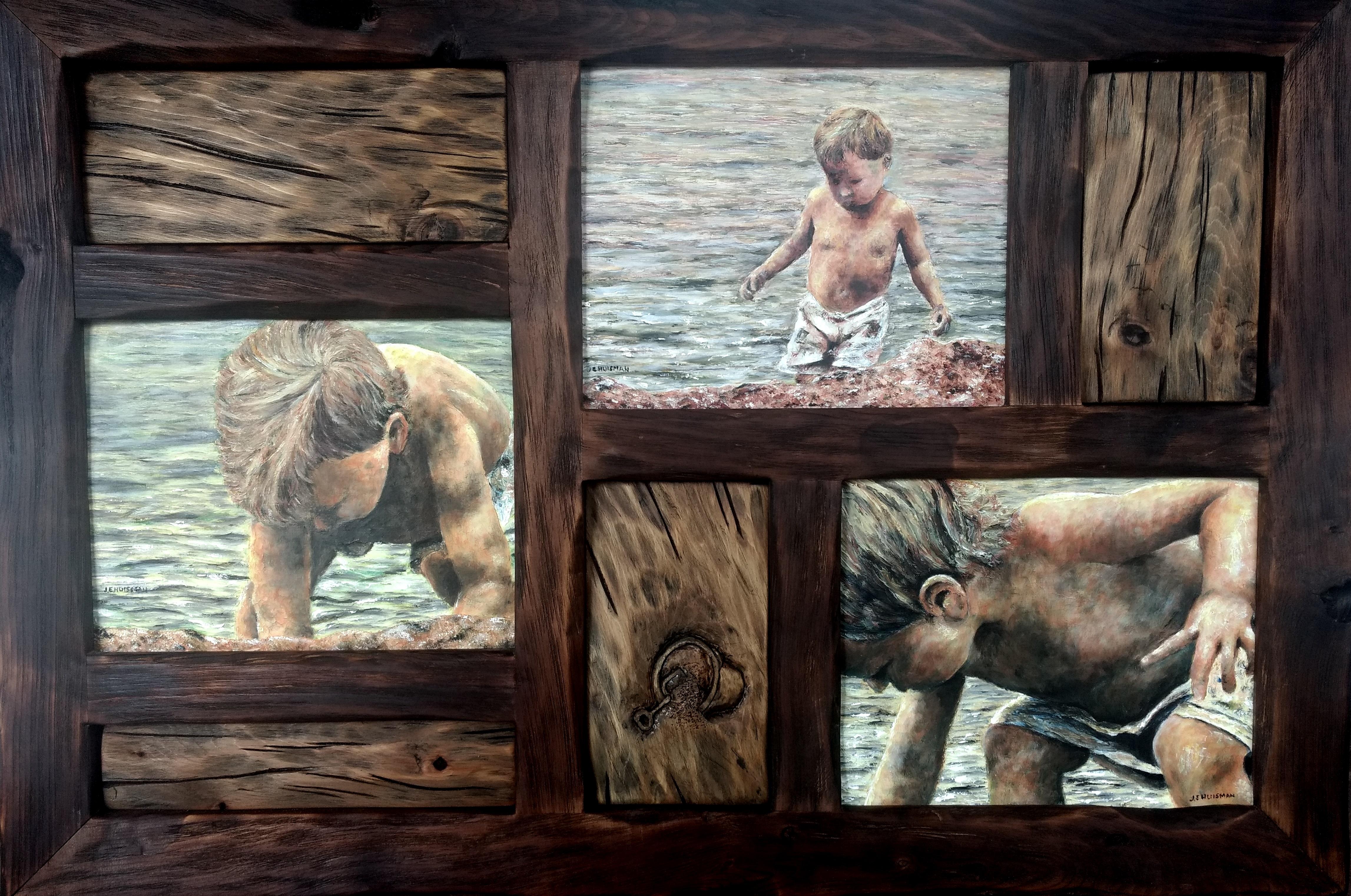 Driftwood, Sand, Gravity, 34x20 Oil & wood by John Huisman